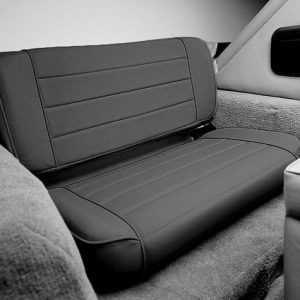 Smittybilt Fold & Tumble Rear Seat for 1976-1995 Jeep CJ5 / CJ7 / CJ8 Scrambler / Wrangler YJ - Black Vinyl