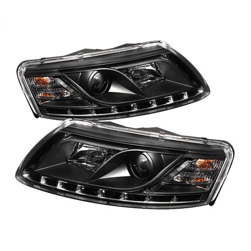 Spyder 5029416 Black DRL Projector Headlights for 2005-2007 Audi A6