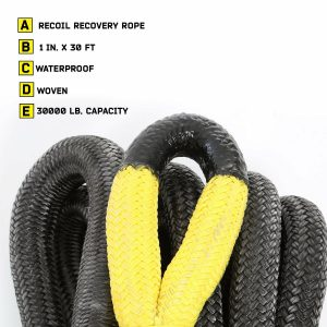 """Smittybilt CC121 1""""x30' Recoil Kinetic Rope - 30,000 lbs Breaking Strength"""