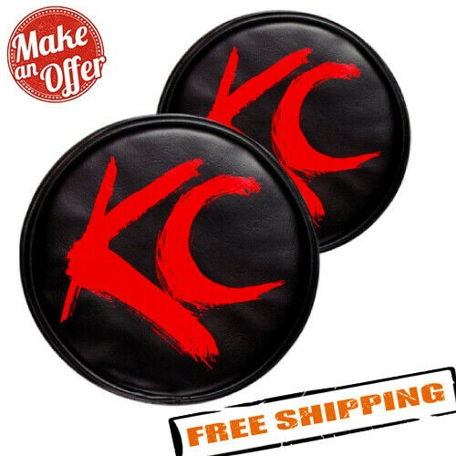 """KC HiLites 5110 6"""" Round Black Vinyl Light Covers with Red Brushed KC Logo"""