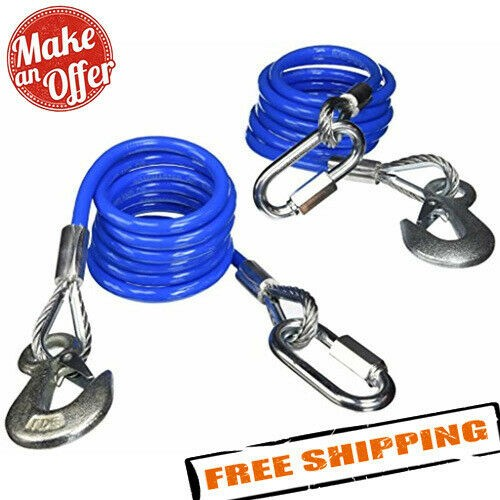 """Roadmaster 643 68"""" Single Hook, Coiled Safety Cables - 6,000 lbs"""
